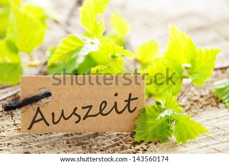a natural looking label with green leaves and the german word Auszeit which means downtime and wood as background - stock photo