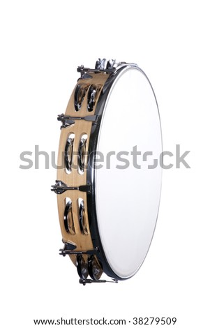 A natural wood finish tambourine drum isolated against a white background in the vertical format. - stock photo