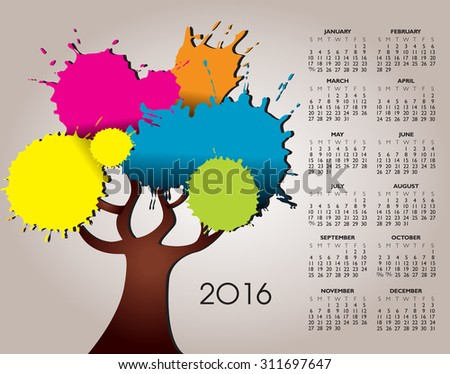 A 2016 Nature and Tree Calendar with Splatter