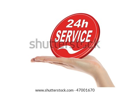 A neat human hand holding a stylized sign that offers a 24 hour service. All isolated on white background.