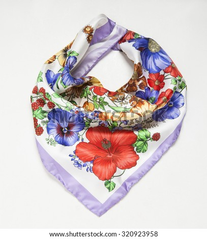 a neck floral scarf isolated - stock photo