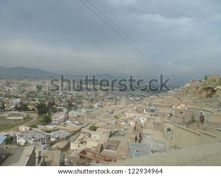 A neighborhood built into the hillside of TV Hill in Kabul, Afghanistan