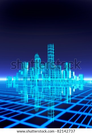A neon grid effect backdrop with a futuristic like city. Room to drop in text