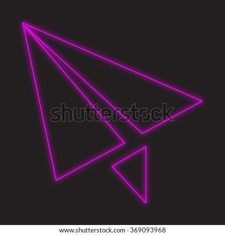A Neon Icon Isolated on a Black Background - Paper Plane