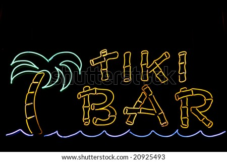 A neon sign for a Tiki Bar - stock photo