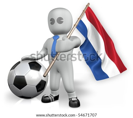 A Netherlands football fan with a ball and a flag - stock photo
