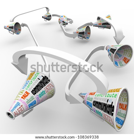 A network of connected megaphones or bullhorns spreading the word and sharing information of an important announcement, rumor or other vital message - stock photo