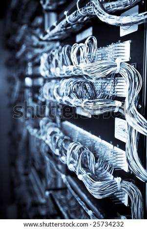 A network of routers and computers in an internet data center - stock photo