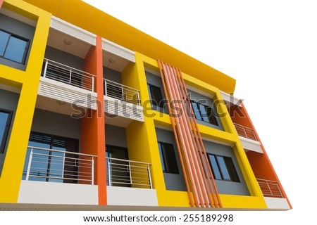 A new apartment building in city on white background. - stock photo