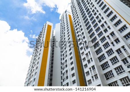 A new apartment building in residential settlement. - stock photo
