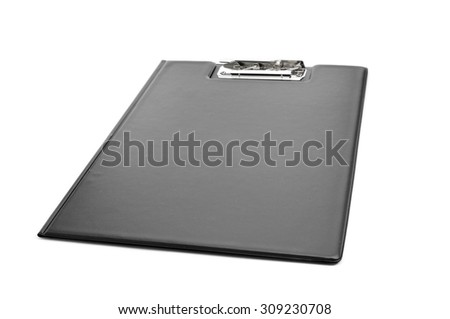 a new black folding clipboard on a white background - stock photo