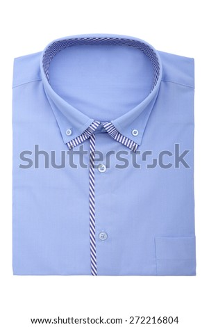 A new blue man's shirt isolated over a white background - stock photo