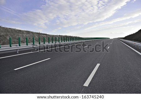 A new built highway and no traffic - stock photo