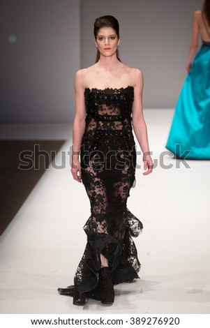 A new collection of designs by fashion designer Efrat Kalig presented at Potsdam Now, a fashion event accompanying the Mercedes Benz Fashion Week Berlin on January 20, 2015 in Potsdam, Germany