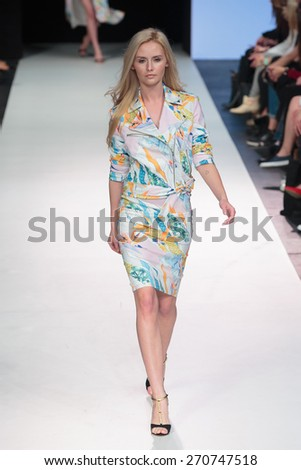 A new collection of designs by polish fashion designer Eva Minge was presented at XII FashionPhliosophy Fashion Week Poland  on April 17, 2015 in Lodz, Poland. - stock photo