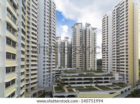 A new estate with carpark at the center- Singapore - stock photo