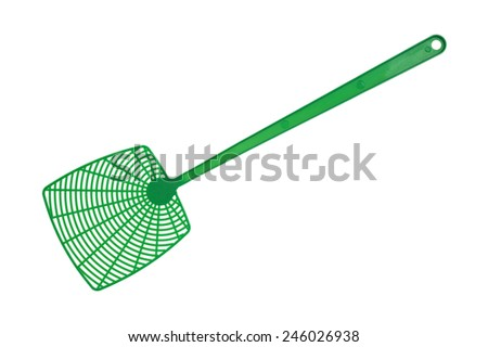 A new green fly swatter on a white background. - stock photo