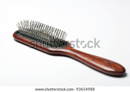 a new hair brushes in detail - stock photo