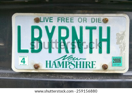 A New Hampshire license plate reads LBYRNTH