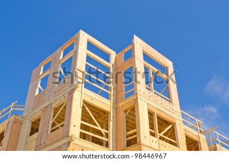 A new home under construction over blue sky in Vancouver, Canada.