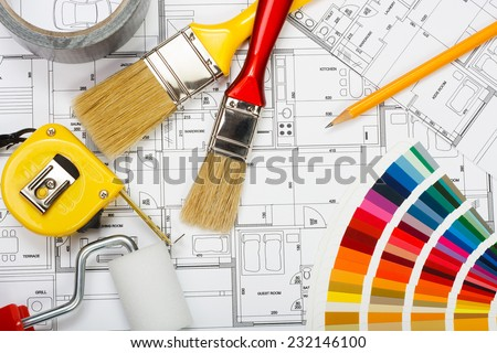 A new house painting, choosing colors for walls