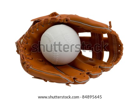 A new leather baseball glove and white ball - stock photo