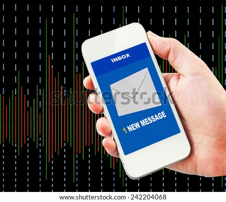 A new message received on mobile phone with stock exchange background. - stock photo