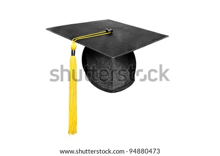 A new mortar board graduation cap with a yellow tassel isolated on white. - stock photo