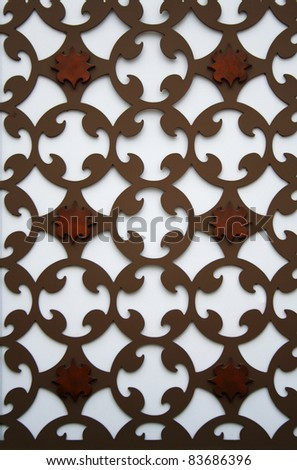 A new perforated pattern metal plate on a wall - stock photo