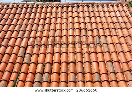 a new roof tiles pattern - stock photo