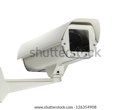 A new security camera isolated on a white background. - stock photo