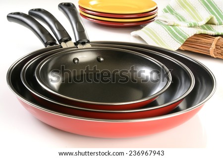 A new set of non stick frying pans with ceramic coating