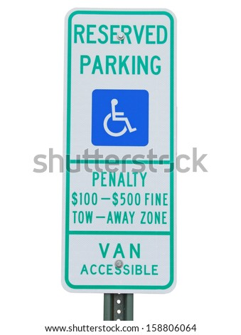 A new style reserved parking, van accessible handicapped parking sign isolated on white - stock photo