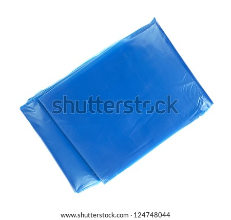 A new very thin blue plastic raincoat that has not been opened on a white background.