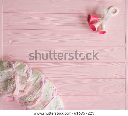 A Newborn Baby Girl Background. Newborn Accessories For A Baby Girl On A  Pink Wooden