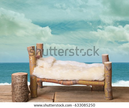 A newborn bed studio digital prop made from Japanese Maple tree branches with a beach ocean background.