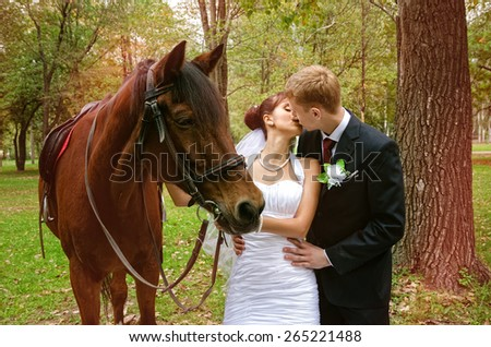 A newlywed couple standing next to a horse - stock photo