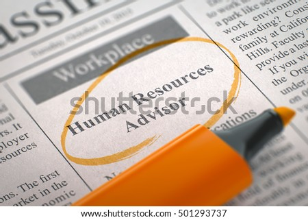 A Newspaper Column in the Classifieds with the Jobs of Human Resources Advisor, Circled with a Orange Highlighter. Blurred Image with Selective focus. Hiring Concept. 3D.