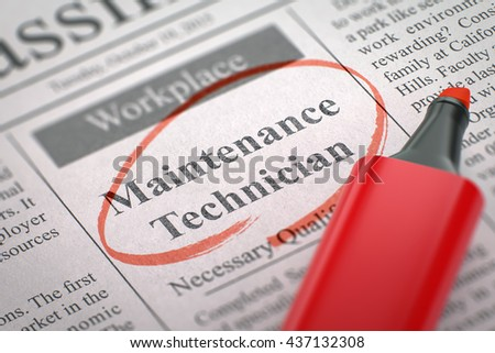 A Newspaper Column in the Classifieds with the Jobs Section Vacancy of Maintenance Technician, Circled with a Red Highlighter. Blurred Image. Selective focus. Job Search Concept. 3D Rendering. - stock photo