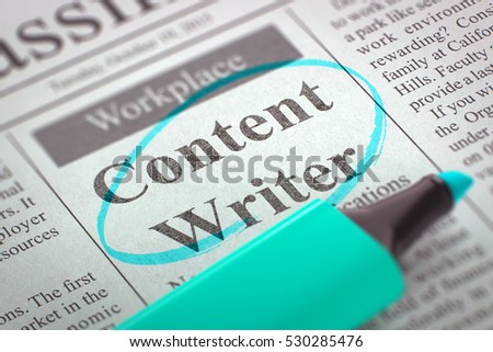 newspaper column classifieds vacancy content writer stock  a newspaper column in the classifieds the vacancy of content writer circled a