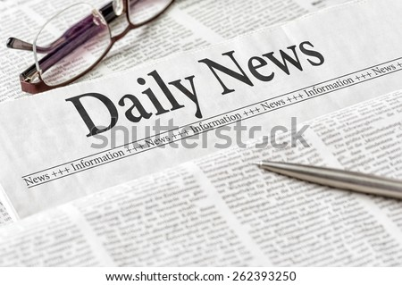 A newspaper with the headline Daily News - stock photo