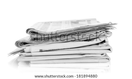 A newspapers, isolated on white - stock photo