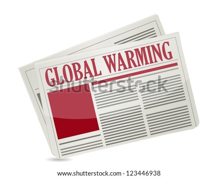 """A newspapers with headline """"Global Warming"""" illustration design - stock photo"""