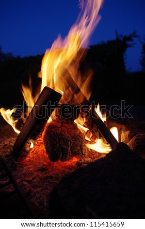 a nice campfire burning outside in summer