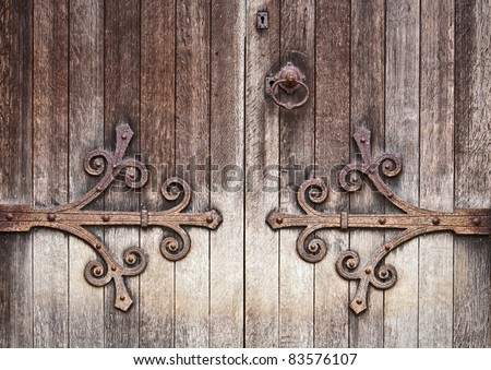 A nice detailed background image of an old wooden door - stock photo