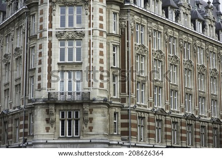 a nice facade of a building at Lille France - stock photo