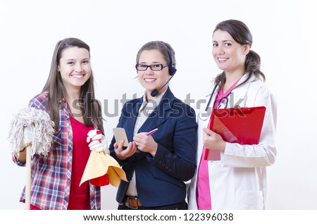 A nice gorup of women with different career - stock photo
