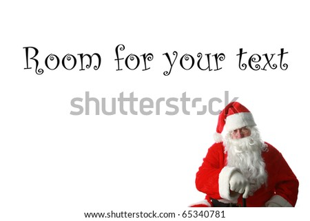 a nice portrait of Santa Claus isolated on white with room for your text or images - stock photo