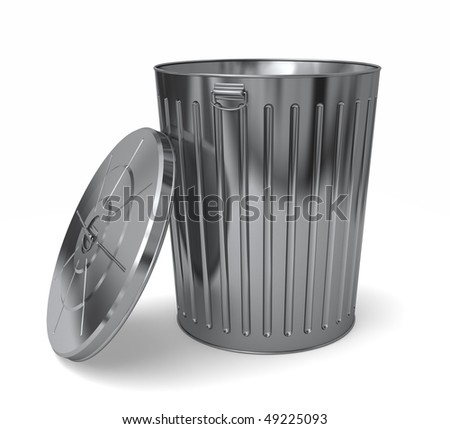 A nice shiny new steel trash can with the lid leaning against the side. Isolated on white - stock photo