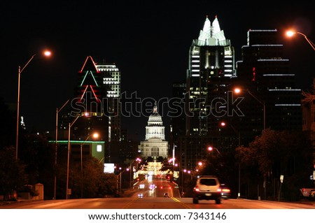 A nice shot of the Texas State Capitol Building in downtown Austin, Texas at night. - stock photo